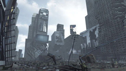 Apocalyptic ruined Time Square New York Manhattan. 3D rendering Wall mural