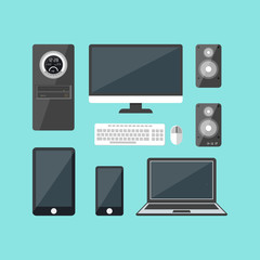 Cartoon Electronic Devices Set. Vector