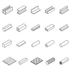 Metal Icon Thin Line Set. Vector