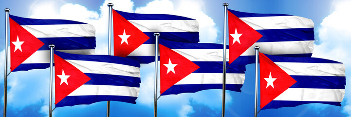 Cuba flags, 3D rendering, on a cloud background