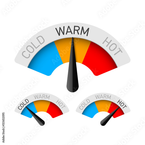 """Cold, Warm And Hot Temperature Gauges"" Stockfotos Und"