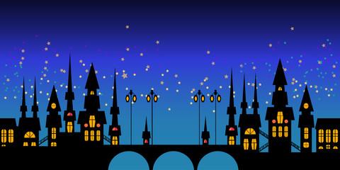 Vector border of Europe night city skyline