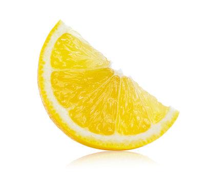 Fresh lemon slices isolated on white background