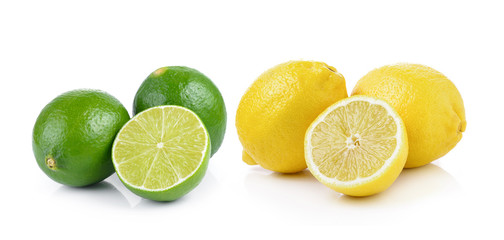 Fresh lemon and lime isolated on a white background