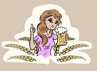 Vrouw met glas schuimend bier
