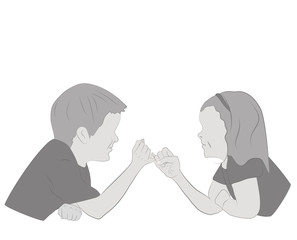 Children holding hands. friendship concept. vector illustration.