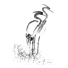 Beautiful gallant stork Heron crane love. Ancient monochrome black ink. Japanese painting sumi-e.