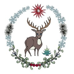 Cartoon style deer in forestry wreath. Vector illustration