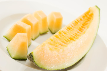 Fresh melons sliced on plate