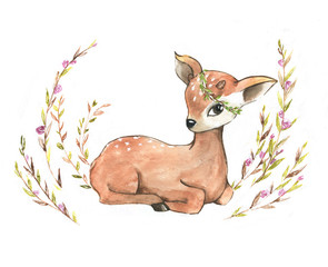 Hand-drawn watercolor portraits of the cute cartoon small deer. Spring illustration for greeting card, posters, banners.