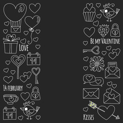 Valentine Day Vector pattern with heart, cake, balloon On blackboard backgoround