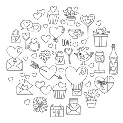 Valentine Day Vector pattern with heart, cake, balloon For invitations, coloring books, sale etc