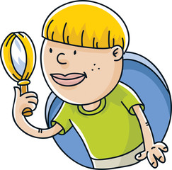 A cartoon boy exploring and investigating with a magnifying glass.