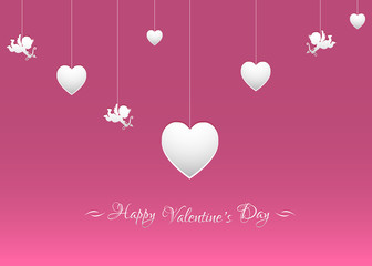 Vector background for Valentine's day with white hearts and cupids.