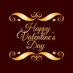 Happy Valentines Day Golden Badge Over Brown