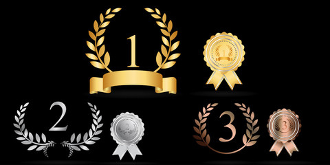 Prize. Trophy icons set. Gold award laurel wreath. Beautiful golden trophy cups and awards of different shape realistic set