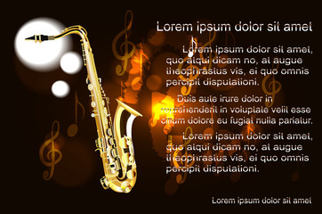 Saxophone, the text on the background of musical notes