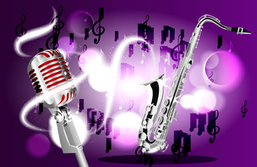 Saxophone, microphone and music notes