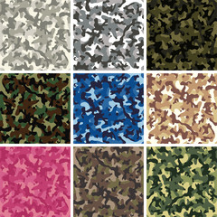 vector seamless background patterns of colorful camouflage design