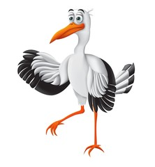 Stork, funny cartoon character. Vector illustration