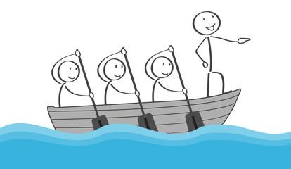 Teamleiter Strichmännchen im Boot mit Team beim Rudern