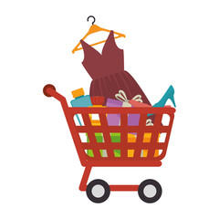 cart shopping commercial icon vector illustration design