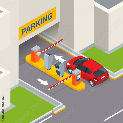Quot Isometric Parking Payment Station Access Control Concept