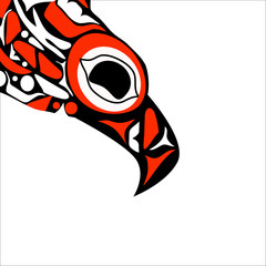totem bird indigenous art stylization