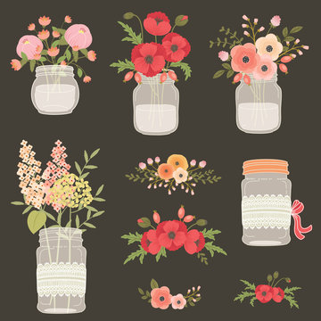 Flower in mason jars.
