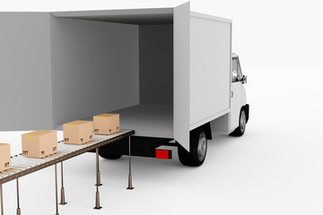 Delivery truck with packages on the conveyor, 3d illustration