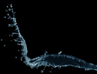 Water splash on a black