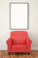 3d illustration interior. Vertical composition with a leather armchair and a poster.
