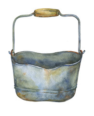 Gardening tools rusty galvanized bucket. Hand drawn watercolor painting on white background.