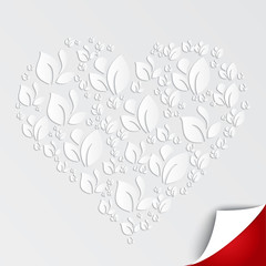 Valentines heart of paper leaves on white background. Vector abstract banner.