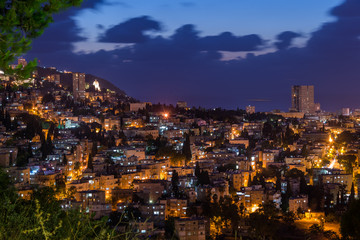 Haifa cityscape at sunset