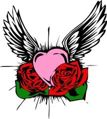 wings-flower-heart-design tattoo