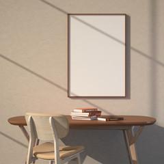 3d illustration interior. Empty poster. Light through the window.