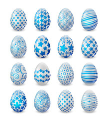 Set of blue and white Easter eggs