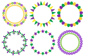 Mardi Gras frame set. Cute round border with space for text. Isolated on white background. Vector illustration Wall mural