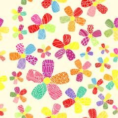 Vector Pattern 60s. Seamless Background Inspired Flower Power. Counterculture, Social Revolution In 1960s