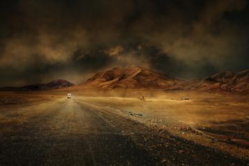 Foto op Plexiglas Droogte montagne désert vierge route chemin seul climat chaud sécheresse