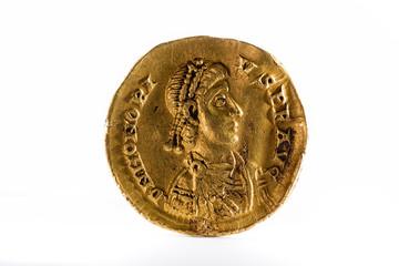 Ancient Roman gold solidus coin of Emperor Honorius.