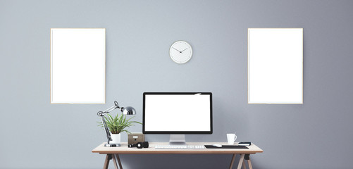 Computer display and office tools on desk. Desktop computer screen isolated. Modern creative workspace background.