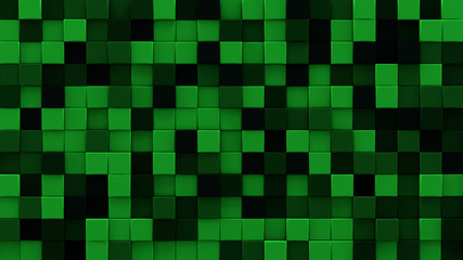 Extruded dark green cubes 3D render