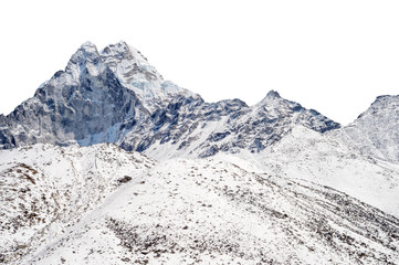 Snowy peak isolated over white background (Ama Dablam in the Everest Region)