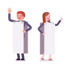 Male and female human billboard, copy space