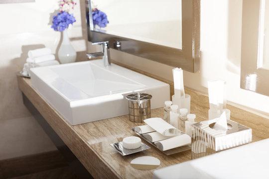 Interior of a modern hotel bathroom