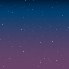 Space with stars night sky before sunrise pink vector