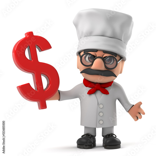 3d Cartoon Italian pizza chef character has an email address