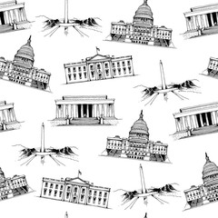 United States of America landmarks, popular places vector seamless pattern on white background